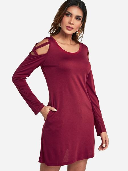 Yoins Burgundy Lace-up Design Cold Shoulder Long Sleeves Dress