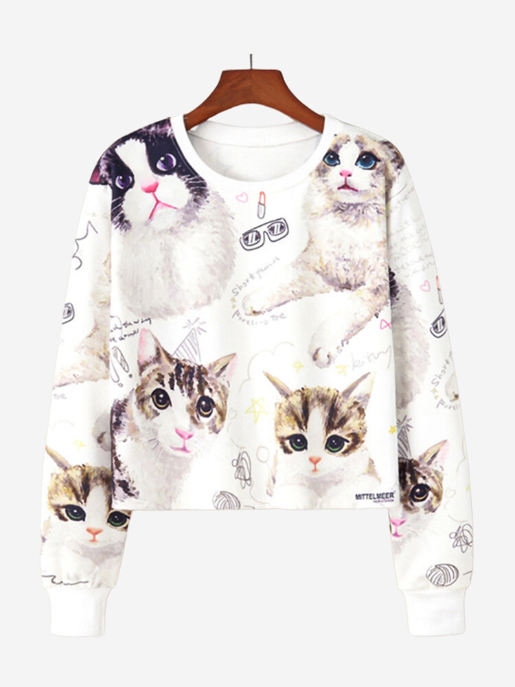 Print Cats Crew Neck Short Sweatshirt