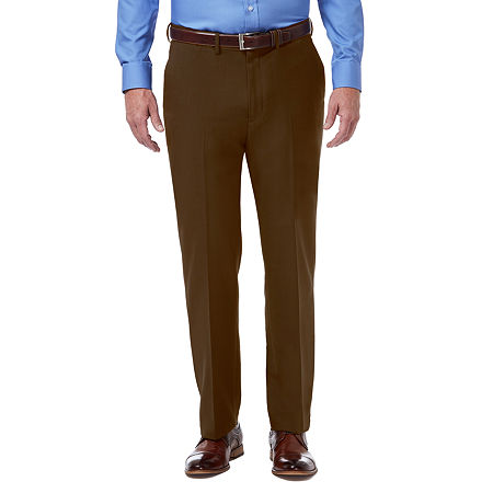 Haggar Premium Comfort Dress Pant Classic Fit Flat Front, 42 30, Brown