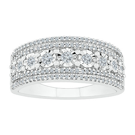 Womens 1/3 CT. T.W. Genuine White Diamond Sterling Silver Round Cocktail Ring, 9 , No Color Family
