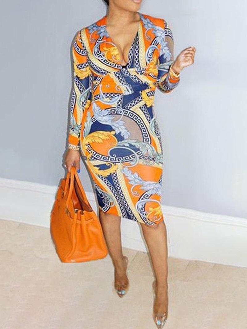 Ericdress Knee-Length V-Neck Print Regular Fashion Dress