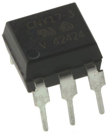 Vishay , CNY17-3 DC Input Transistor Output Optocoupler, Through Hole, 6-Pin DIP (50)