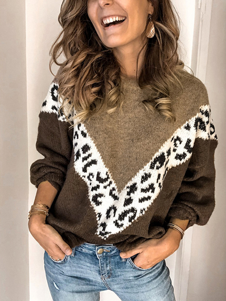 Yoins Patch Leopard Round Neck Long Sleeves Sweater