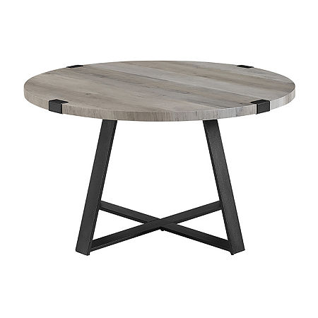 Farmhouse Rustic Round Coffee Table, One Size , Gray