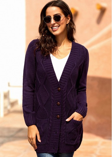 Button Up Long Sleeve Double Pocket Cardigan - XL