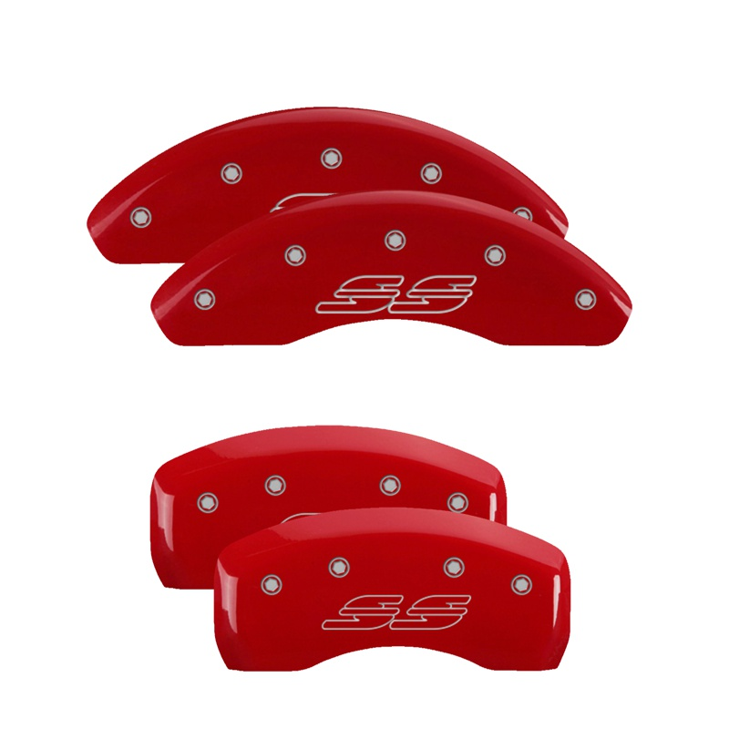 MGP Caliper Covers 14223SSS2RD Set of 4: Red finish, Silver SS / SS (Impala) Chevrolet