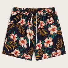 Maenner Shorts mit Kordelzug um die Taille und Pflanzen Muster