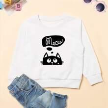 Toddler Girls Cartoon & Letter Graphic Sweatshirt