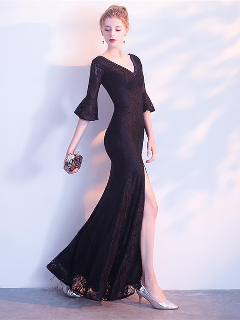 Ericdress Sheath V Neck Black Half Sleeve Evening Dress