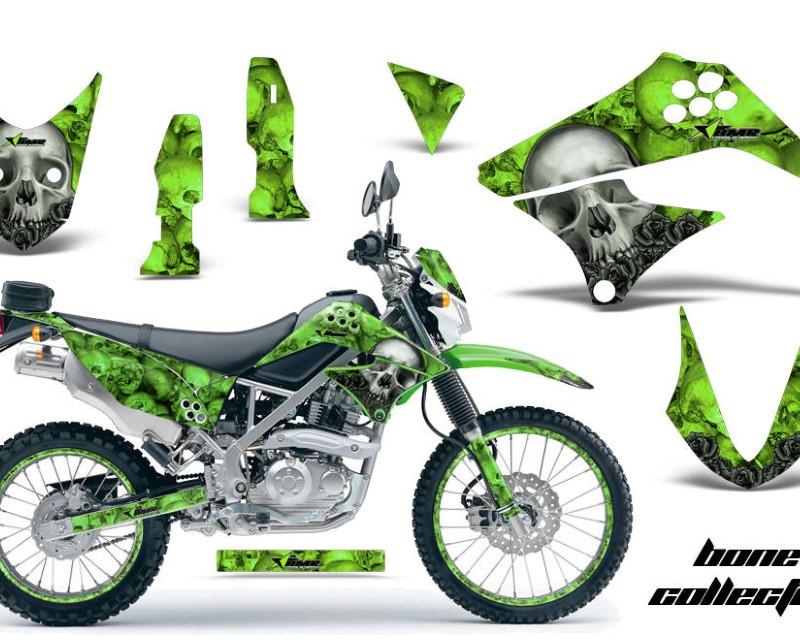 AMR Racing Graphics MX-NP-KAW-KLX125-10-16-BC K Kit Decal Sticker Wrap + # Plates For Kawasaki KLX125 2010-2016 BONES BLACK
