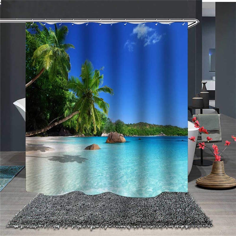 Waterproof and Mildewproof 3D Beautiful Beach Scenery Polyester Shower Curtains