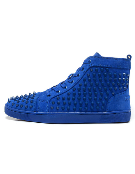 Milanoo Royal Blue Mens Sneakers 2020 Suede Spike Shoes Round Toe Lace Up Rivets High Top Skate Shoes