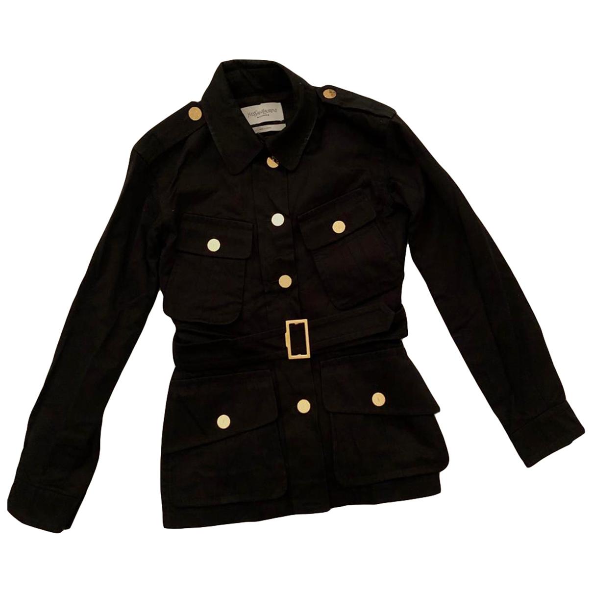 Yves Saint Laurent \N Black Cotton jacket for Women 34 FR