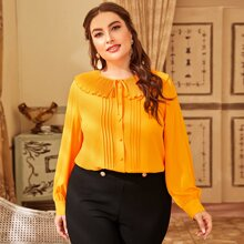 Plus Tie Front Pleated Collar Blouse