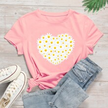 Plus Daisy Floral And Heart Graphic Tee