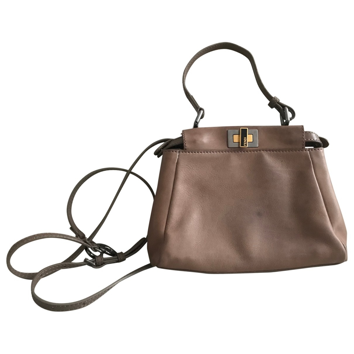 Fendi Peekaboo Handtasche in  Kamel Leder