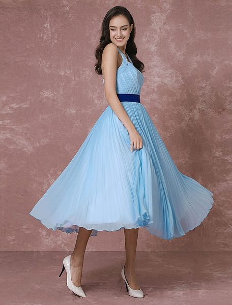 Milanoo Vintage Wedding Dress Blue Short Bridal Gown Halter Chiffon Pleated Cocktail Dress Tea-length Party Dress
