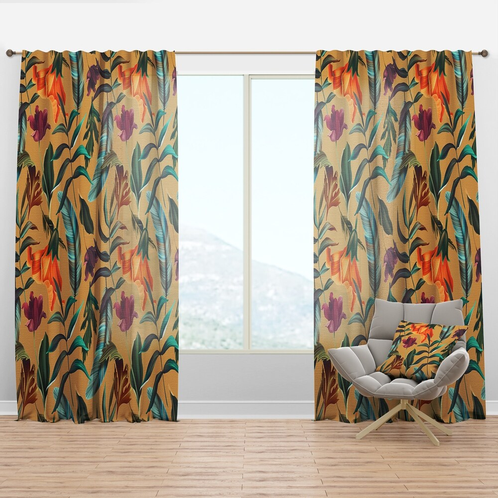 Designart 'Retro Tropical Flowers and Feathers' Vintage Curtain Panel (50 in. wide x 108 in. high - 1 Panel)