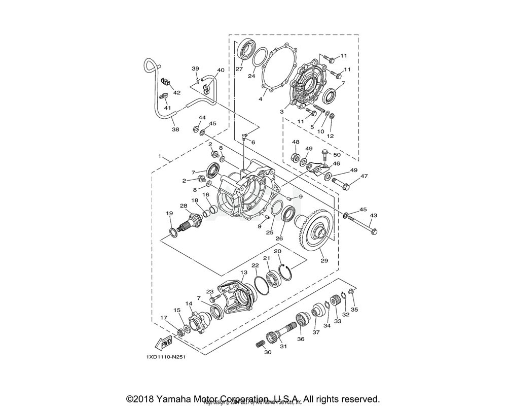 Yamaha OEM 1XD-F1981-00-00 BRKT., RR. AXLE