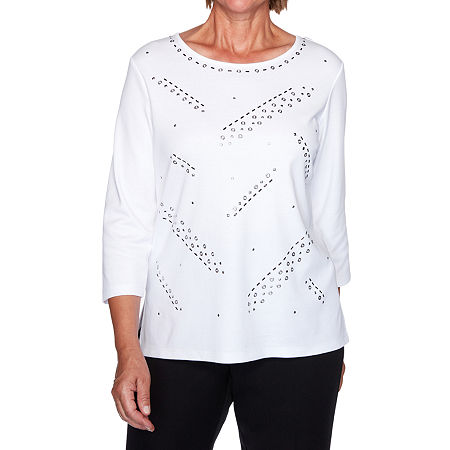 Alfred Dunner Modern Living-Womens Crew Neck 3/4 Sleeve T-Shirt, Large , White