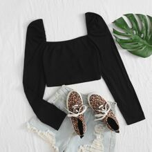 Solid Square Neck Blouse