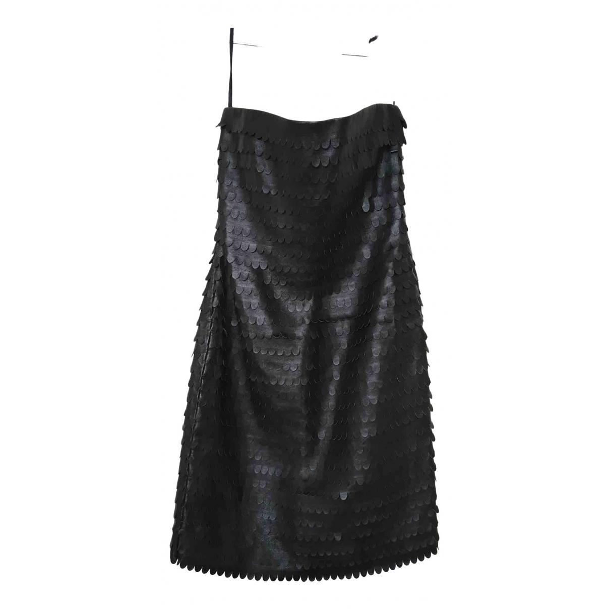 Max Azria \N Kleid in  Schwarz Leder