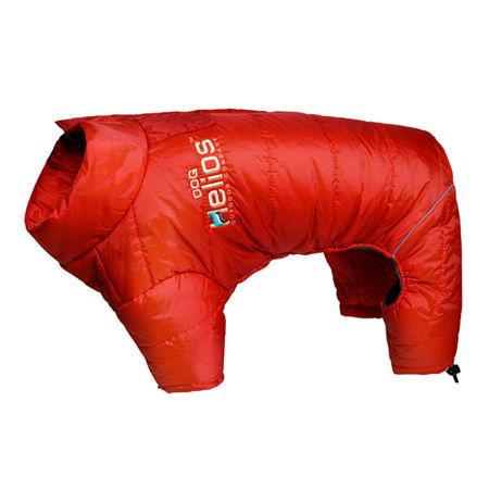The Pet Life Helios Thunder-crackle Full-Body Waded-Plush Adjustable and 3M Reflective Dog Jacket, One Size , Red