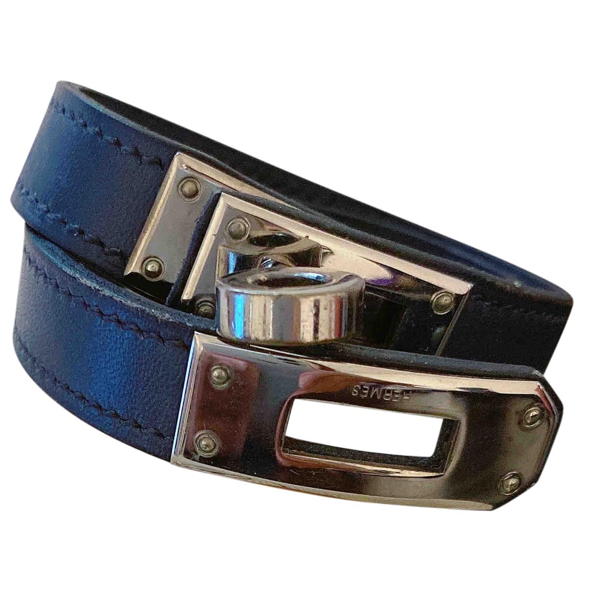 Hermes - Bracelet Kelly Double Tour pour femme en cuir - bleu