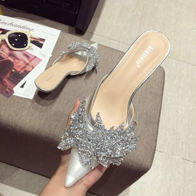 Ericdress Rhinestone Slip-On Pointed Toe Women's Mules Shoes