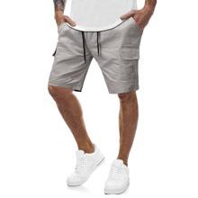 Shorts bermuda de hombres de cintura con cordon con bolsillo con solapa