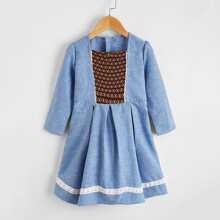 Toddler Girls Guipure Lace Trim Colorblock Dress
