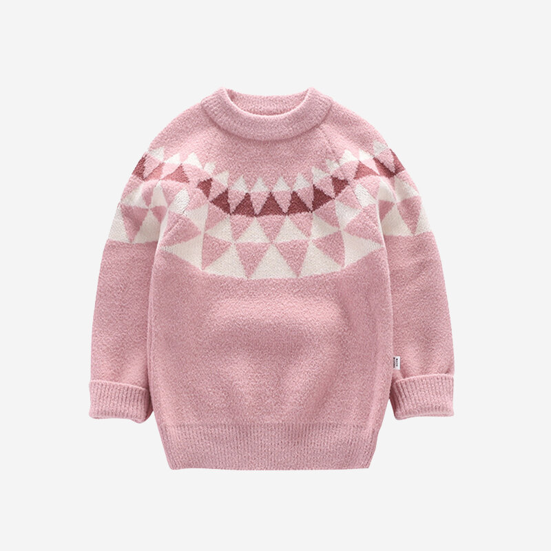 Kid's Geometric Print Casual Sweater For 4-11Y