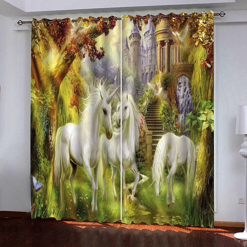 3D Room Darkening Blackout and Decorative Curtains with Disney Castle Design 200g/m² Thick Shading Polyester No Pilling No Fading No off-lining Machin