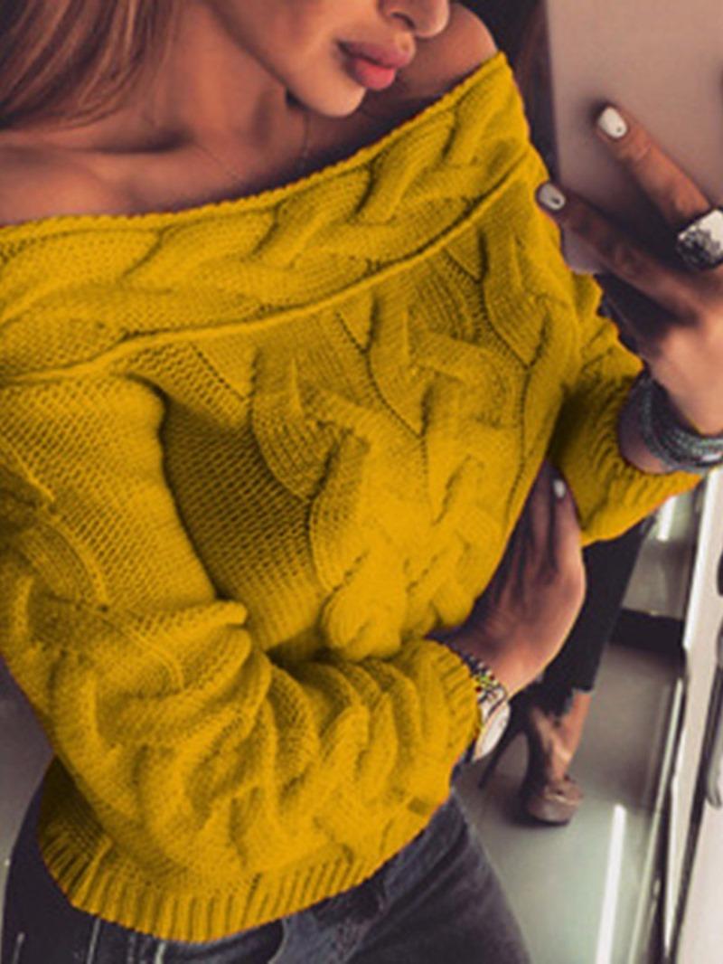 Ericdress Regular Reversible Thin Long Sleeve Off Shoulder Sweater