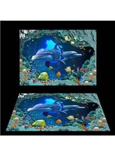 3D Blue Sea Dolphins Pattern PVC Waterproof Non-slip Eco-friendly Self-Adhesive Floor Murals