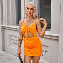 Neon Orange Ruched Peekaboo Bodycon Dress