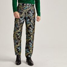 Men Floral and Chinese Dragon Jacquard Pants