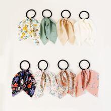 8pcs Ditsy Floral Pattern Hair Tie
