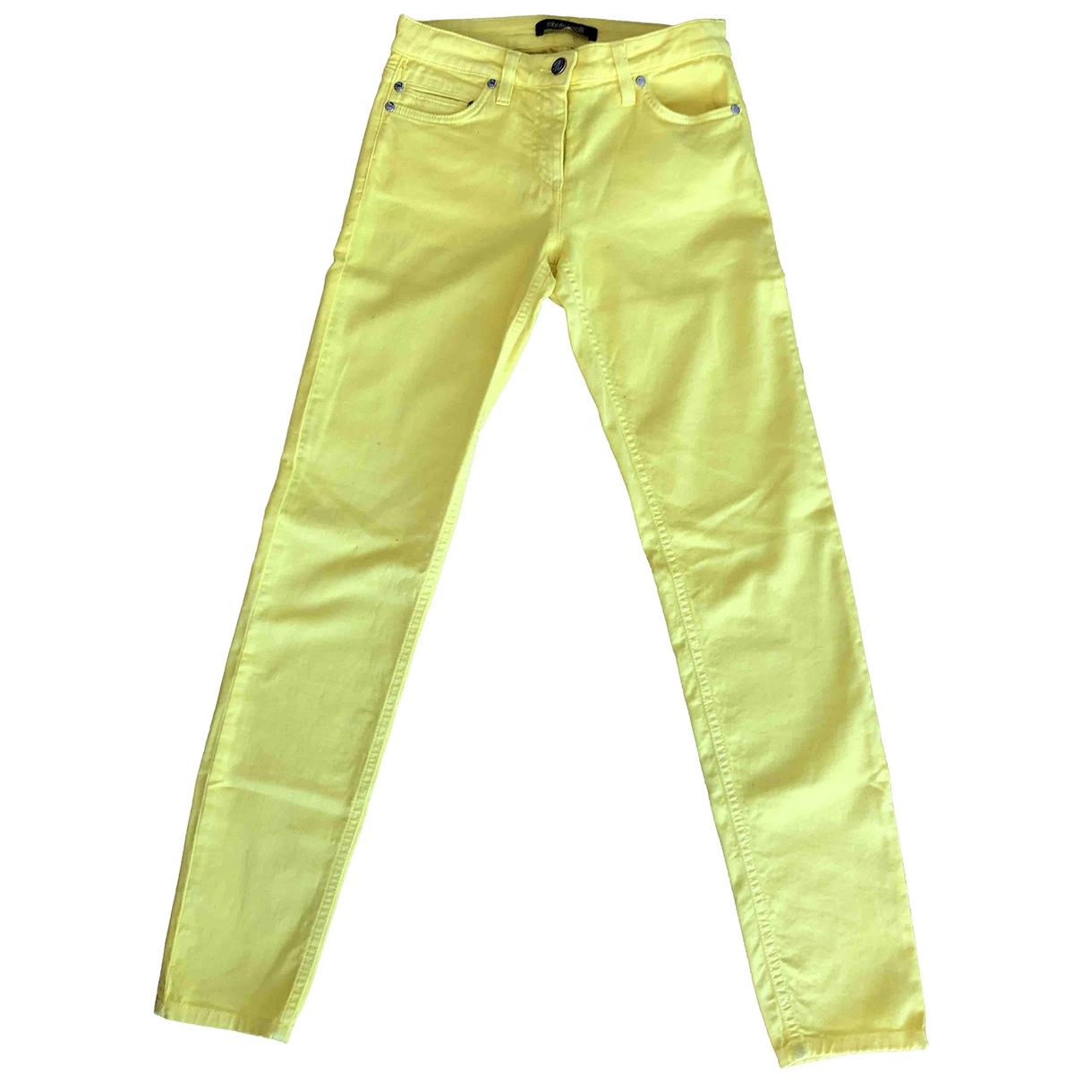 Roberto Cavalli \N Yellow Cotton - elasthane Jeans for Women 34 FR