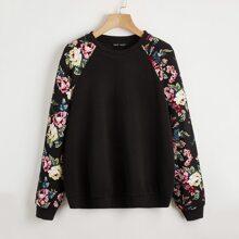 Pullover mit Blumen Muster und Raglanaermeln