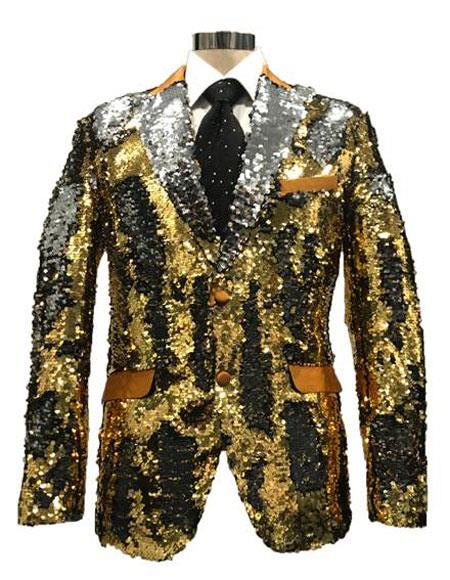 FAD345 Mens Reversible Sequin Silver & Gold Blazer with
