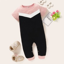 Baby Girl Colorblock Rib-knit Jumpsuit