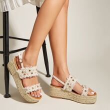Faux Pearl Decor Slingback Wedges