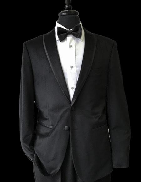 Mens 2 Buttons Black Trimmed Lapel Velvet Tuxedo