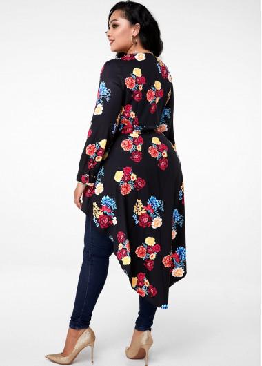Floral Print Asymmetric Hem Plus Size Blouse - 2X