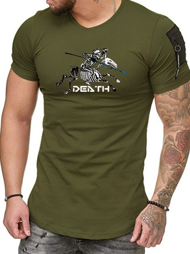 Ericdress Round Neck Print Short Sleeve Slim T-shirt