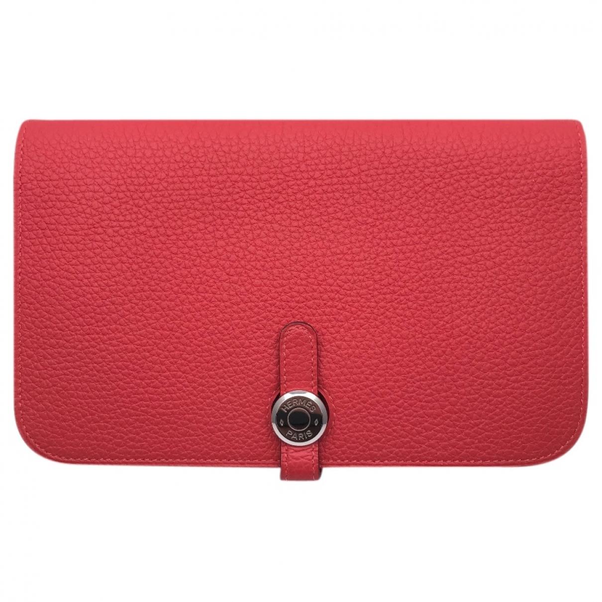 Hermes - Portefeuille Dogon pour femme en cuir - rouge