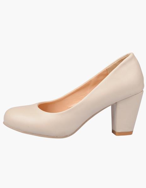 Milanoo Round Toe PU Leather Stylish Women's Mid-Low Heels