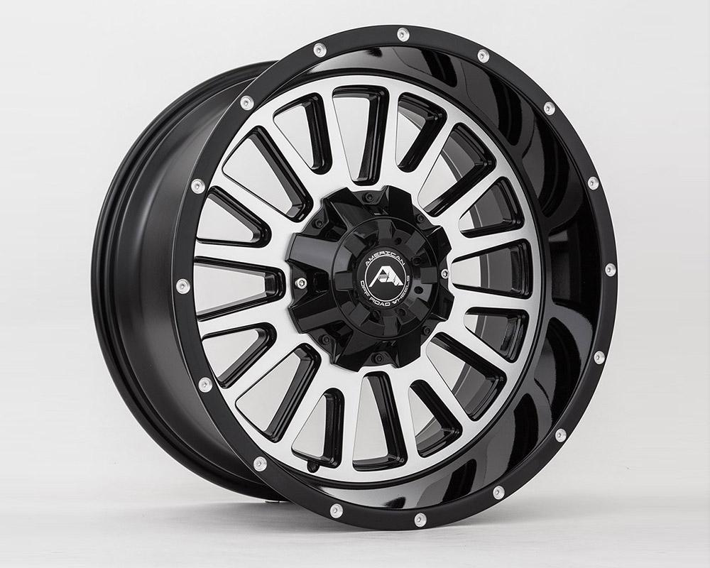 American Off-Road A10520A0527-24BMF A105 Black Machined Wheel 20x10 5x5(5x127) -24mm