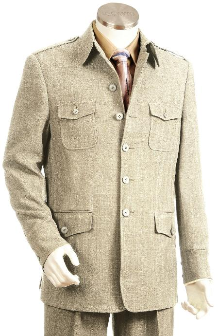 5 Button Taupe Zoot Suit Mens